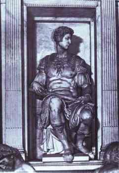 Michelangelo. Tomb of Giuliano de' Medici (detail). Giuliano de' Medici. 1526-1531. Marble.